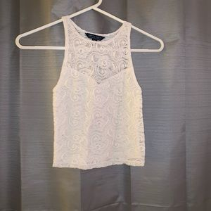 White Lace American Eagle crop top